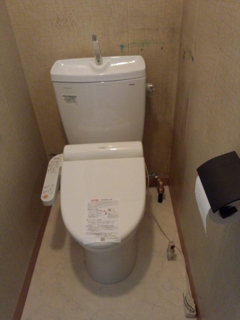 札幌市手稲区 TOTO節水トイレに交換 水抜き栓水漏れ修理