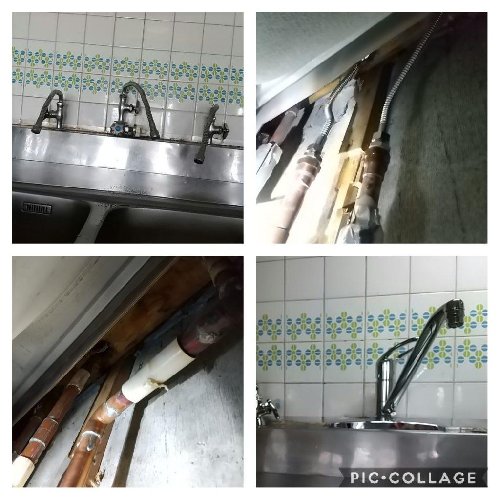 古い蛇口の水漏れ修理、混合水栓KM5091ZTに交換